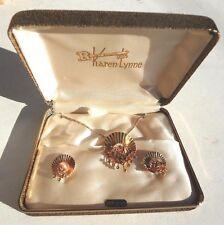 VTG KAREN LYNNE Gold Necklace JEWERLY W/ Matching Earrings 1/20-12 KT NOS