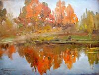 painting art vintage Konovalyuk Autumn Landscape impressionism River collection