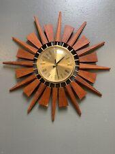 More details for vintage 1960s anstey & wilson starburst sunburst wall clock mid century teak