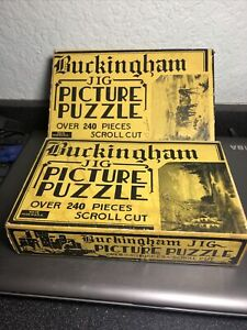 Lot of 2 Vintage Buckingham Jig Scroll Cut Jigsaw Picture Puzzles 1930s