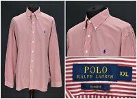 Mens Polo Ralph Lauren Striped Shirt Red Cotton Long Sleeve Slim Fit Size XXL