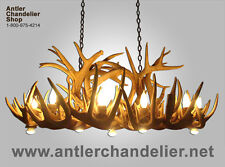 REAL ANTLER WHITETAIL DEER DINING ROOM OR POOL TABLE CHANDELIER 8 LAMPS, Rustic