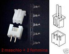 2 Coppie Mini Connettori eq. JST-XH 2-poli N.2 maschio + N.2 femmina per PCB