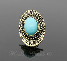 Turquoise Blue Antique Gold GP Womens Girls Dress Fashion Ring Adjustable Size