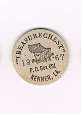 Vintage Wooden Nickel Treasure Chest 1967 P.O. Box 691 Kenner, LA Collector's