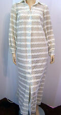 Vtg 70s ANNE KLEIN LILY OF FRANCE Sheer Zigzag Ivory Sparkly Loungedress Robe S