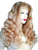 HUMAN HAIR Indian Remi Remy Full Lace Wig Wigs Blonde Mix Long Body Wave Wavy