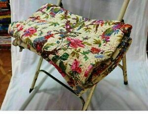 Indian Bird Print Kantha Queen/Twin Quilt Cotton Beige Bedspread Blanket Throw