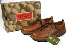 New Vintage RJ Colt Brown Tumbled Leather Lace Up Mens Casual Shoes Size 9 1/2