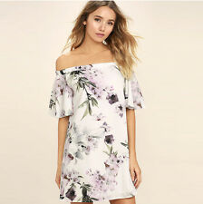 Women Lady off Shoulder Cocktail Party Dress Short Sleeve Floral Beach Sundress White M