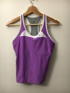 Women's Medium Nike Dri Fit Purple Tank Racerback Built in Bra Athletic Wear