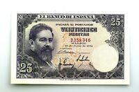 Spain-Billete. 25 Pesetas 1954. SIN SERIE. Madrid. SC-/UNC- Doblez Central. Raro
