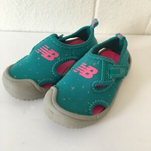 New Balance Kids Size 6 Cruiser Sandal Teal Pink Water Play Summer Close Toe