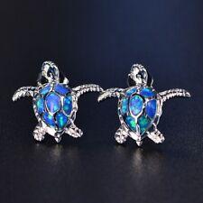 Cute Blue Fire Crystal Dangle Stud Earrings Silver Jewelry Bride Wedding