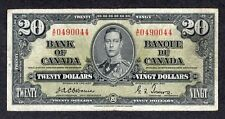 1937 $20.00 BC-25a F-VF * RARE Signature OSBORNE George VI Canada Twenty Dollars