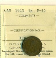ICCS Canada 1923 1cent Coin ; F-12 ; Certification No- XTN 308 ; LHM