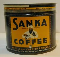 Old Vintage 1930s SANKA GRAPHIC KEYWIND COFFEE TIN ONE POUND HOBOKEN NEW JERSEY