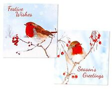 PACK OF 12 TRADITIONAL ROBIN CHRISTMAS CARDS IN 2 DIFFERENT DESIGNS - BRAND NEW