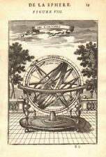 ARMILLARY SPHERE. 'Des Colvres'. Astrolabe. MALLET 1683 old antique print