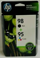 New Genuine Dual HP 98/95 Black & Tricolor Ink Cartridges, EXP 2020, BOX