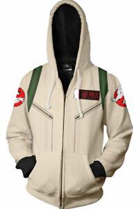 Ghost Busters Unisex Cosplay Hooded Zip Up Hoodie Jacket Sweatshirt Coat