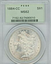 1884-CC Morgan Silver Dollar Graded MS62 BY PCGS, GREAT COIN