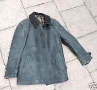 Veste en cuir noir, 3/4,  col en tissu années 30  Maquis résistance