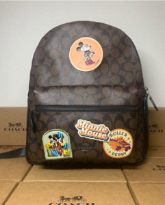 Coach x Disney Collaboration Mickey & Minnie Mouse Signature Backpack rare NEW