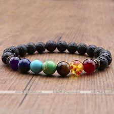 Reiki 7 Chakra Gemstone Lava Rock Stone Spacer Healing Bead Bangle Bracelet Gift