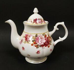 GRACIE STECHCOL WHITE+PINK,RED ROSES BONE CHINA COFFEE,TEA POT TEAPOT-5 CUPS