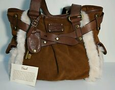 Fossil ADRINA Brown Suede & Smooth LEATHER Tote/Shoulder Bag Faux FUR Trim