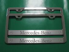 "(2) Brand New "" MERCEDES-BENZ HALO "" CHROME metal license plate frame"