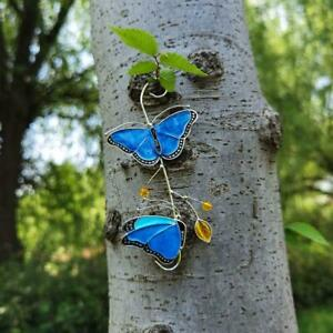 Butterfly Stained Glass Panel Garden Decor Crafts Gift Ornament Hot Sale