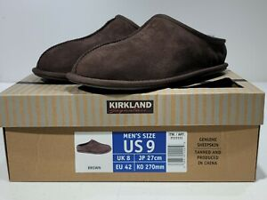 Kirkland Signature Mens Slippers Chocolate Brown Bomber Shearling Sheepskin Sz 9