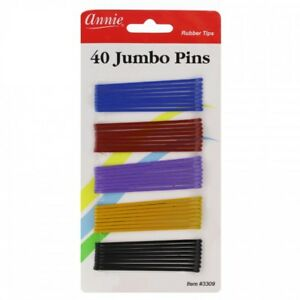 """ANNIE 40 PCS JUMBO BOB PINS 2 3/4"""" ASSORTED COLOR #3309 BALL TIPPED"""