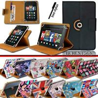 """For Amazon Kindle Fire 7"""" 8""""8.9""""10"""" Tablet Leather 360 Rotating Stand Case Cover"""