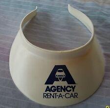 VISOR - vintage Agency Rent A Car white golf sun visor hat plastic, theater prop