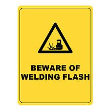 Beware Of Welding Flash Warning Sign, Metal Aluminium Health Safety Caution Sign