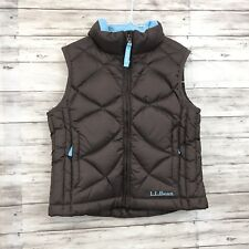 L.L Bean kids puffy goose down vest child youth S 4 brown outerwear boys-(o)