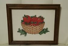 Completed Needlepoint Artwork Picture tomatoes apples kitchen framed 7x9