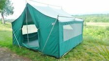 """Vintage Canvas Tent USA Made 11' X 9' X 7' 1"""" Tall Good Condition Aluminum Poles"""