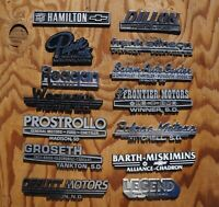 LOT OF 14  >> Vintage Auto Truck Dealer Emblem Badge SD ND MN Chev GM Ford Buick