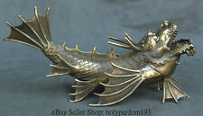 """13"""" Chinese Art Copper Feng Shui Dragon Fish Fly Dragon Beast Sculpture Statue"""