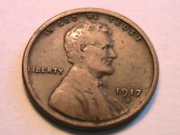1917-S Lincoln Cent Very Fine Smooth Original Toned Wheat Cent One Penny US Coin