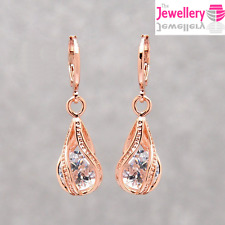 Rose Gold Plated Crystal Twisted Peardrop Dangle Drop Earrings Womens Ladies