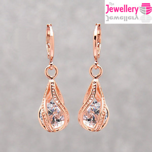 Rose Gold Plated Crystal Twisted Peardrop Dangle Drop Earrings Womens Ladies