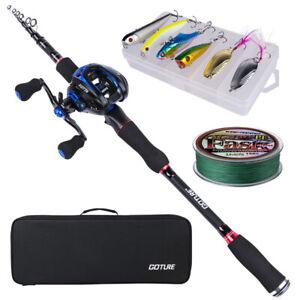 2.1M 2.4M Casting Fishing Rod Combo Medium Travel Rod Baitcasting Reel Full Kit