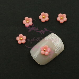 100 6MM Sakura Flower Japanese Style Decor 3D Resin Nail Art Manicure Crafts DIY