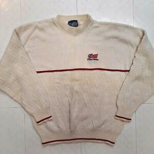 Vintage Polaris Winter Wear Snowmobile Sweater Mens Size L Large White WARM