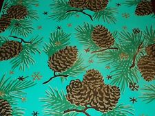 Vtg Christmas Wrapping Paper Gift Wrap 1940 Gorgeous Teal Pinecone Star Nos